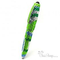 Crystal Diamonate Glitter Green Blue Swirl Bling Pen