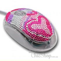Crystal Diamonate Glitter Pink Purple Bling USB Computer Mouse