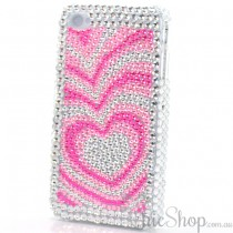 iPhone 4/4s Pink/Silver Heart Cover / Case