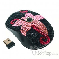 Pink Flower Wireless Computer Mouse