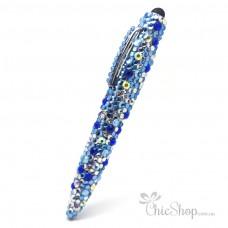 Crystal Diamonate Glitter Blue Sparkle Bling Pen