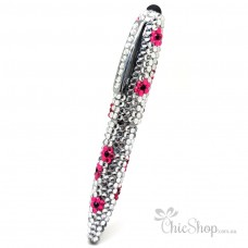 Crystal Diamonate Glitter Bling Pen with Pink Floral