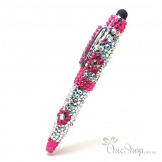 Crystal Diamonate Glitter Pink Floral Bling Pen