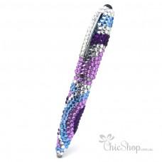 Crystal Diamonate Glitter Blue Purple Swirl Bling Pen