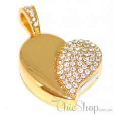 Gold Colour Heart-Shaped Jewelry USB Flash Drive 4GB