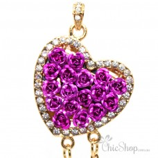 Heart Shaped With Purple Roses USB Flash Drive / Stick