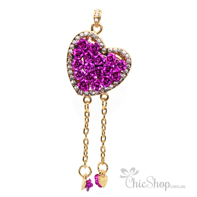 Heart Shaped With Purple Roses USB Flash Drive / Stick 1